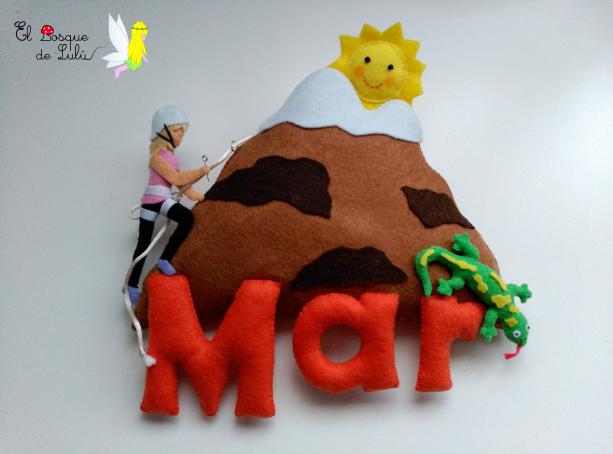 nombre-decorativo-en-fieltro-de-fieltro-escaladora-decoración-regalo-personalizado-letrero-infantil-escaladora-alpinista-lagarto