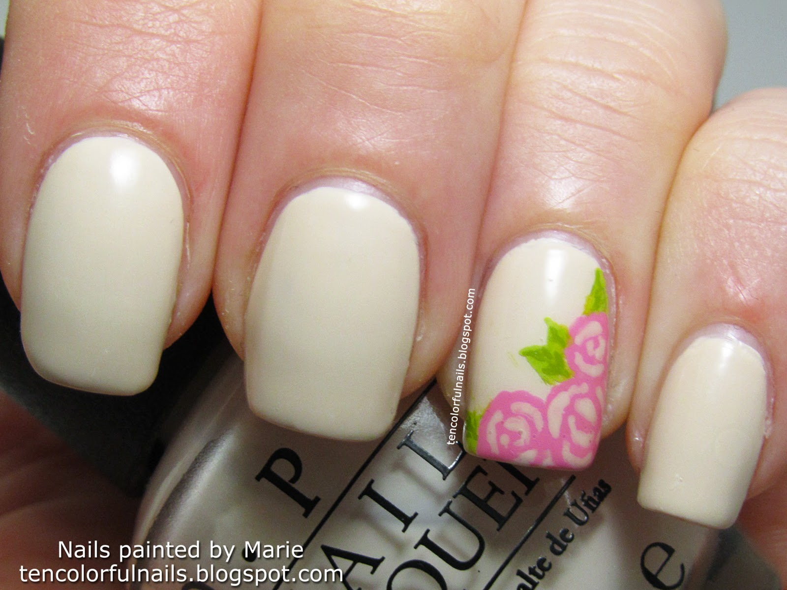 Ten Colorful Nails Cream With Roses Nail Art