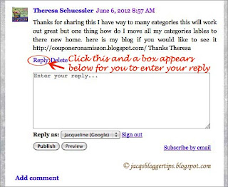 Screenshot to illustrate how to reply to Threaded Comments on Blogger - #1 border=