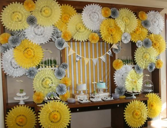 paper fans/rosettes collage