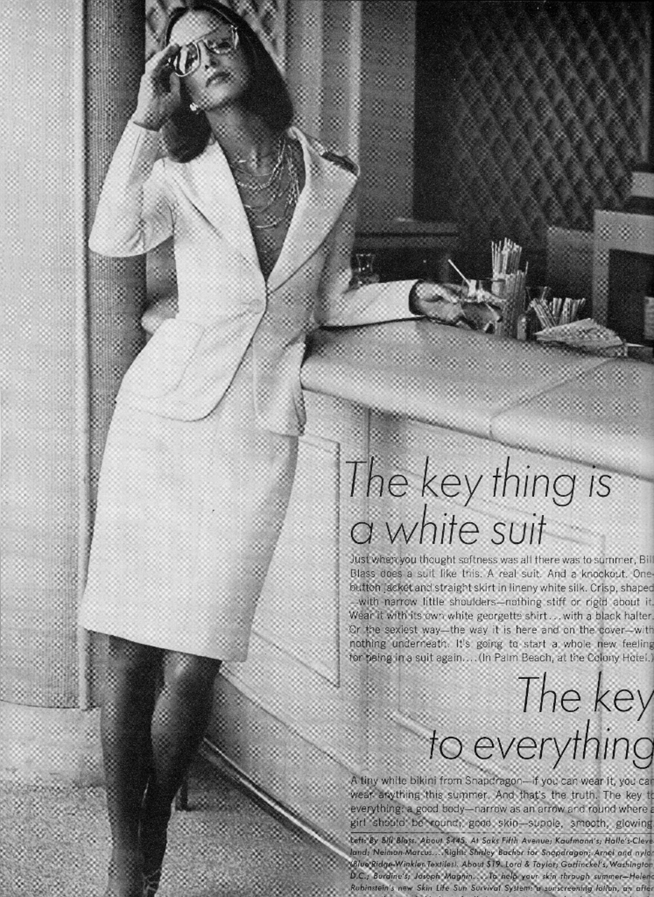 the white suit / Vogue US April 1973 / 1970s style inspiration / via fashioned by love british fashion blog