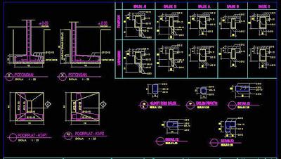 contoh gambar pondasi autocad 2d
