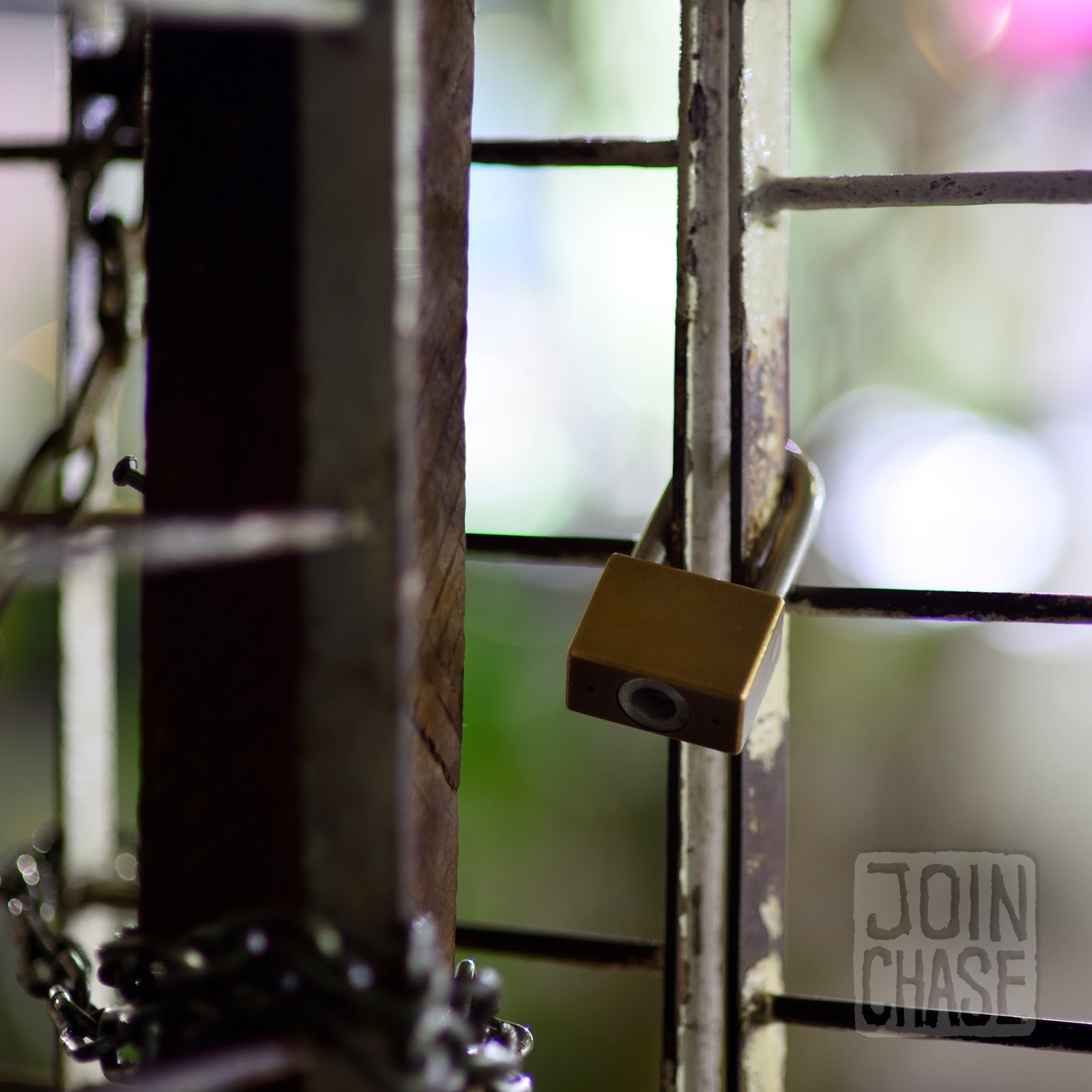 A padlock on a door in Yangon, Myanmar.