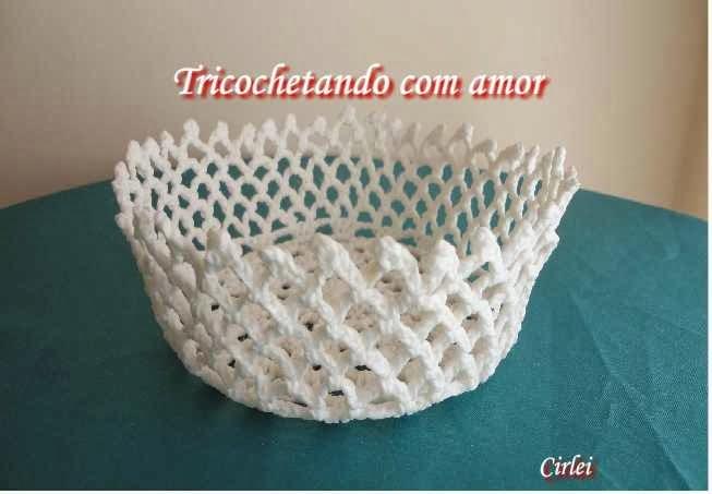 Armario Com Espelho Para Banheiro Balaroti ~ Tricochetando com amor Cestinha branca de croche