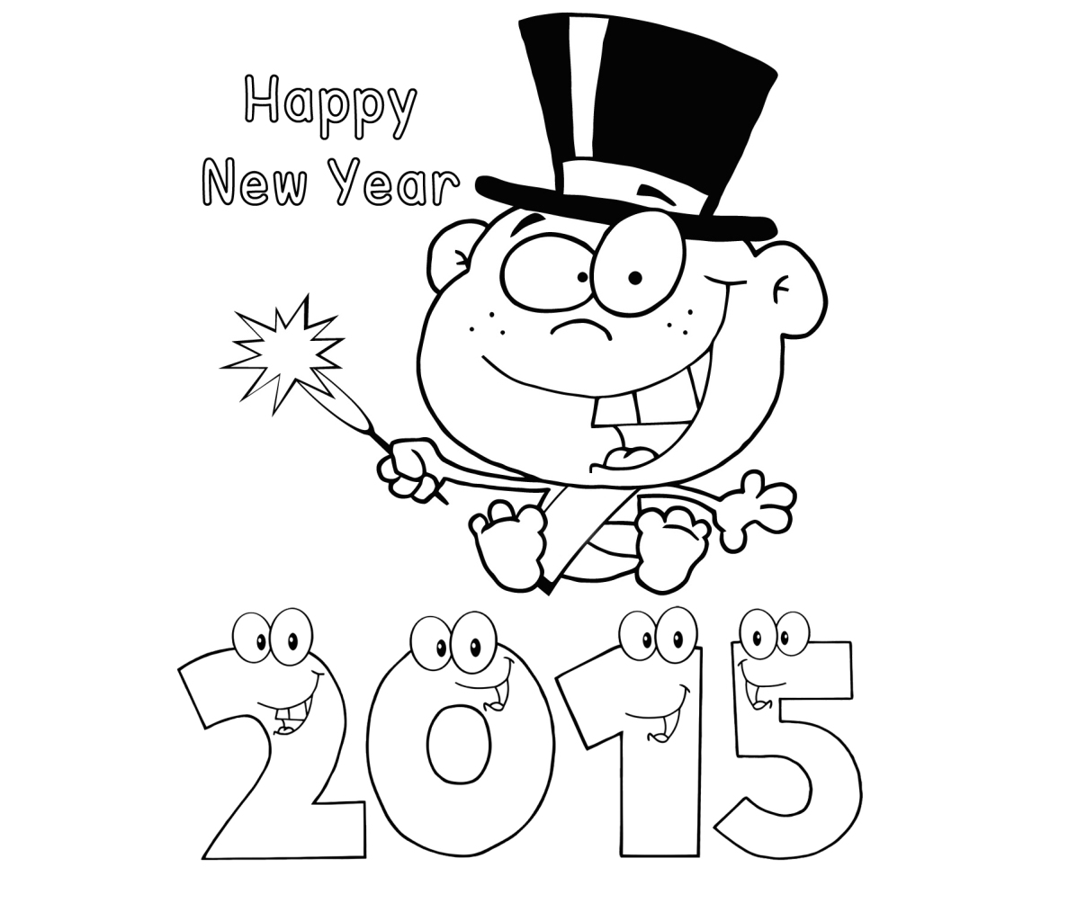 Happy New Year 2015 Coloring Drawing Free wallpaper