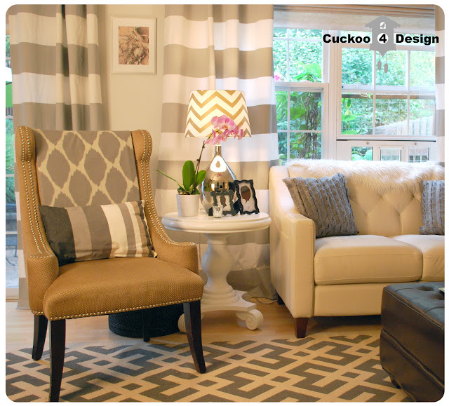 grey horizontal stripe curtains, grey overstock rug, grey wool target pillow