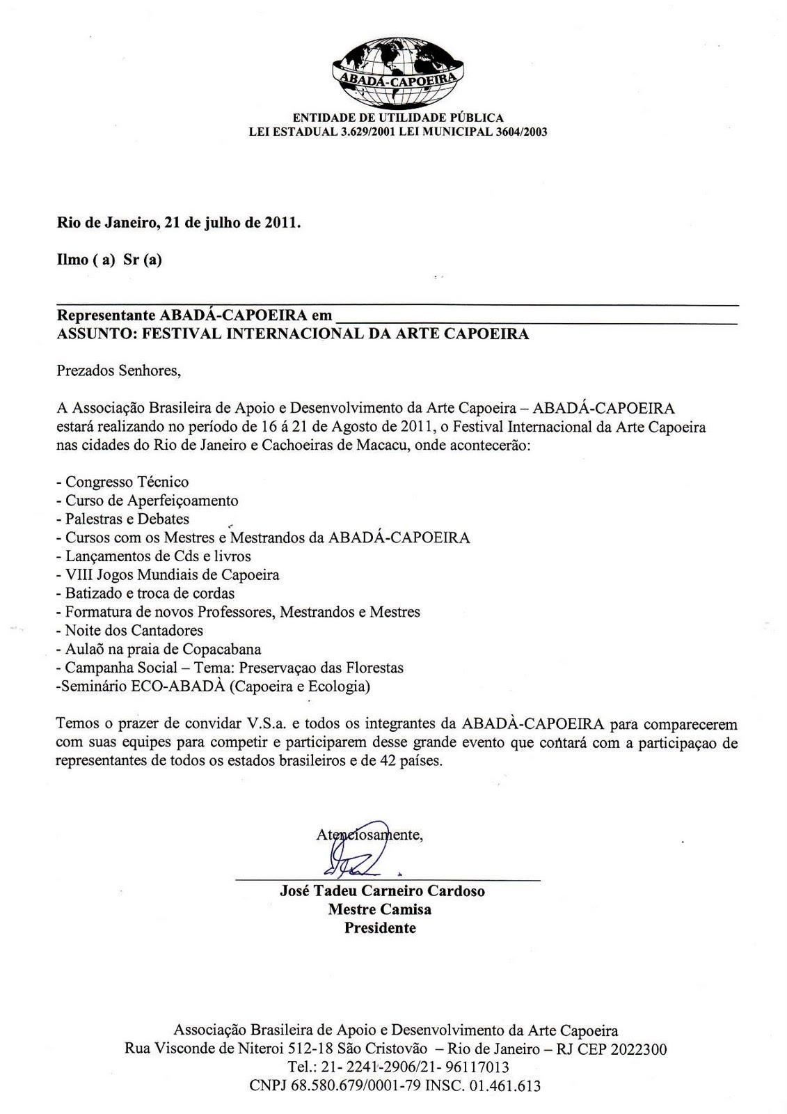 JOGOS MUNDIAIS 2011 – Carta Convite