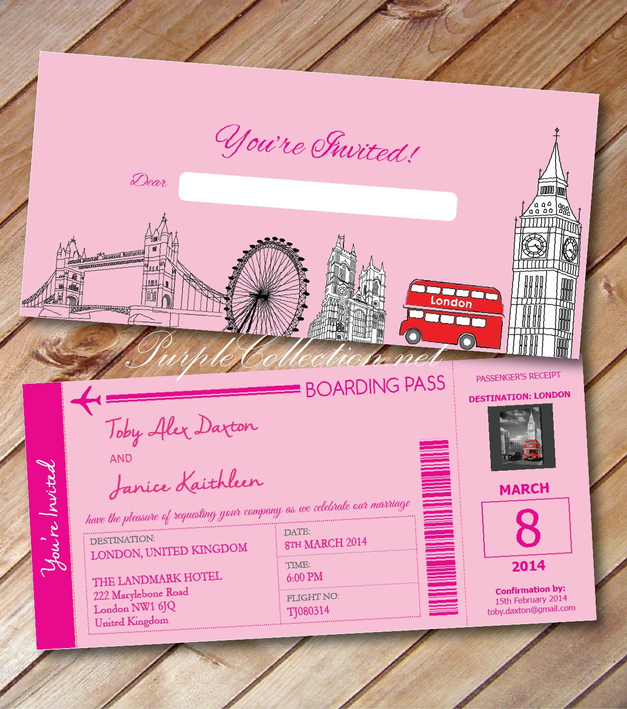 london, united kingdom, wedding card, invitation, marriage, modern, personalised, personalized, custom made, design, unique, special, pink, red bus, big ben, london bridge, boarding pass, travel, passport, malaysia, kuala lumpur, online, purchase, buy, sell, portfolio, handmade, hand crafted, art card, cover, pearl card, envelope