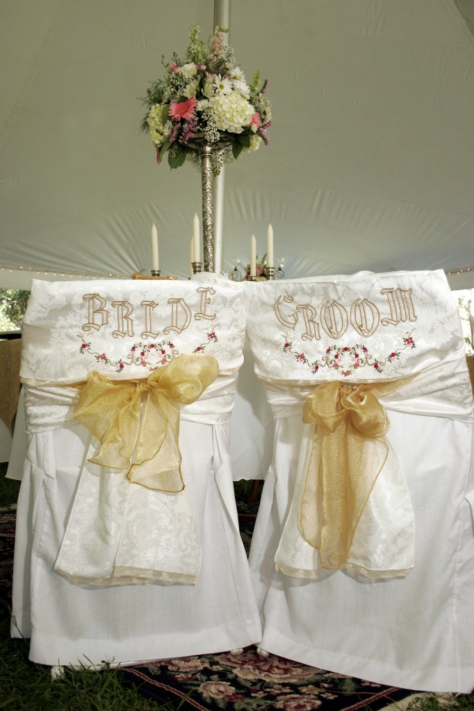 Embroidered Bride and Groom Chair Covers by Janice Ferguson Sews