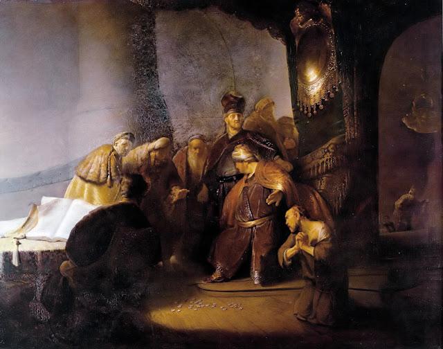 Η επιστροφή των τριάκοντα αργυρίων από τον Ιούδα.  Έργο του Ρέμπραντ, 1629.