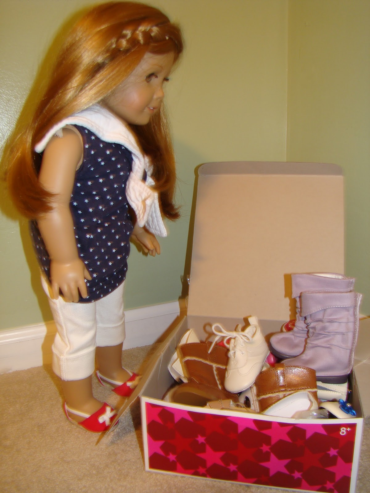 I Made This Shoe Storage Box/chair Out Of Two American Girl Clothes Boxes.  One Was Bigger, One Was Smaller. I Am Running Out Of Space For Shoes Now!