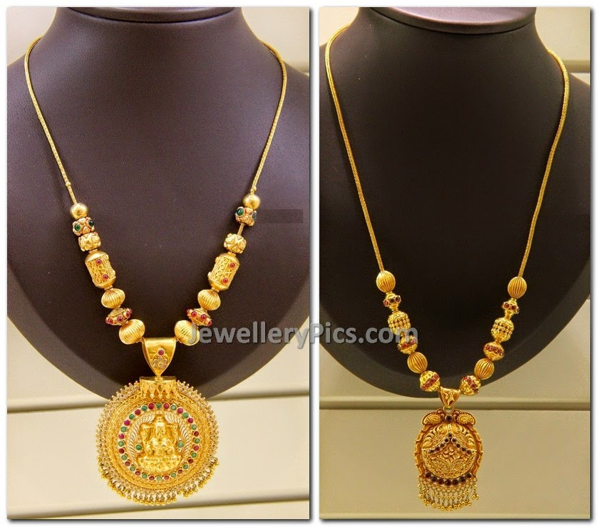 Antique temple gold necklace withlakshmi devi pendent