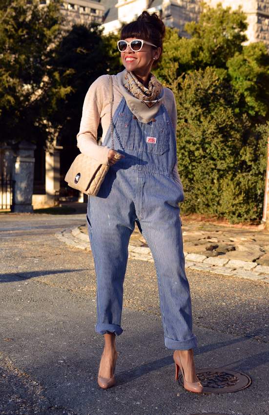 Outfit with striped overalls