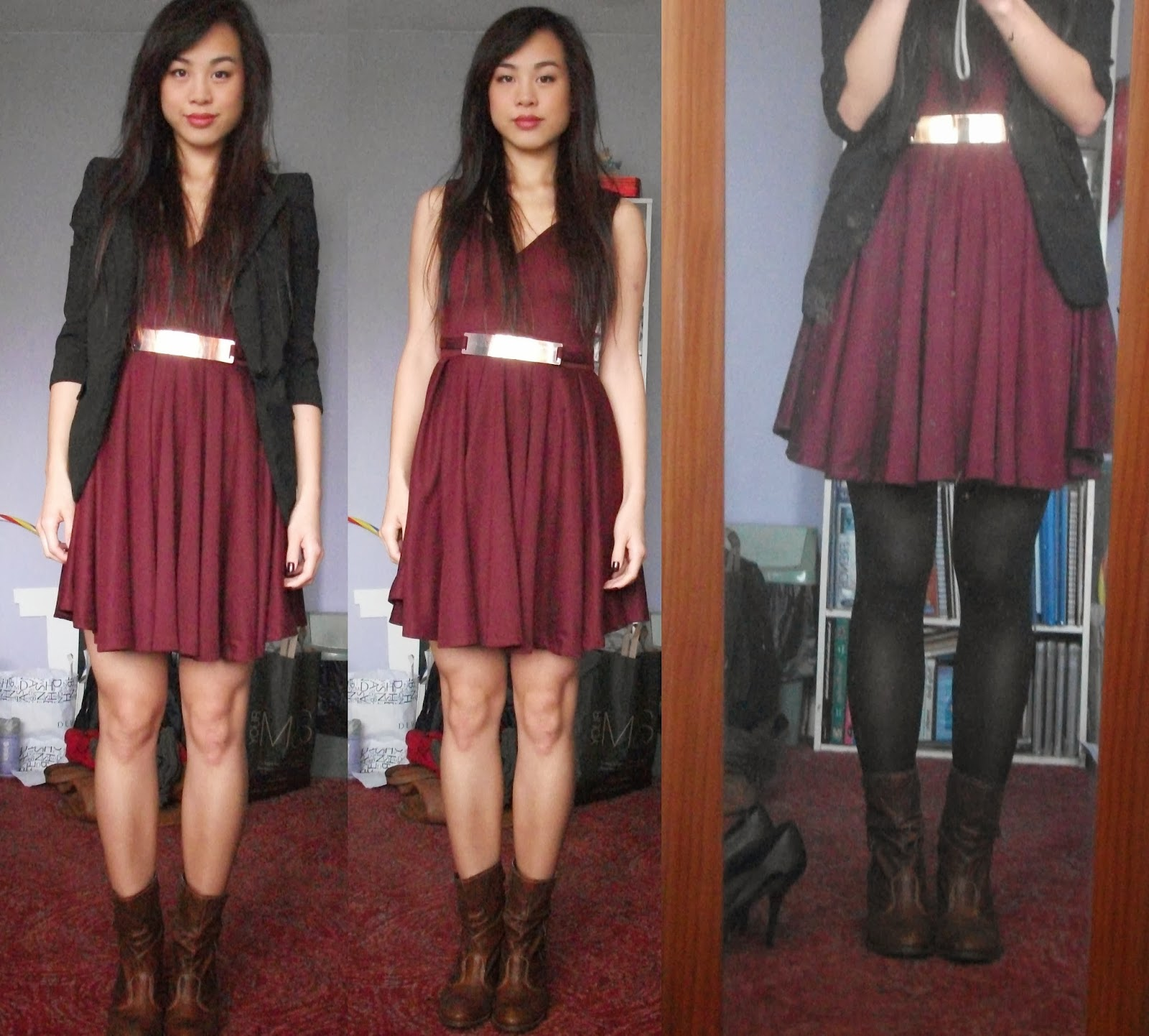 Because It S Cold Out I Wore My Outfit With Black Ake Your Legs Look Slimmer And The Boots Can Make Them Slim Long