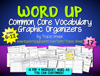 Common Core Graphic Organizers Vocabulary http://www.teacherspayteachers.com/Product/Common-Core-Vocabulary-Graphic-Organizers-Grades-6-12