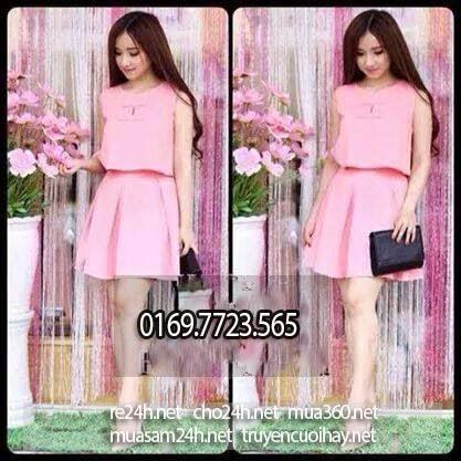 Sét váy xinh đẹp xòe cát giấy hồng, giá 175K