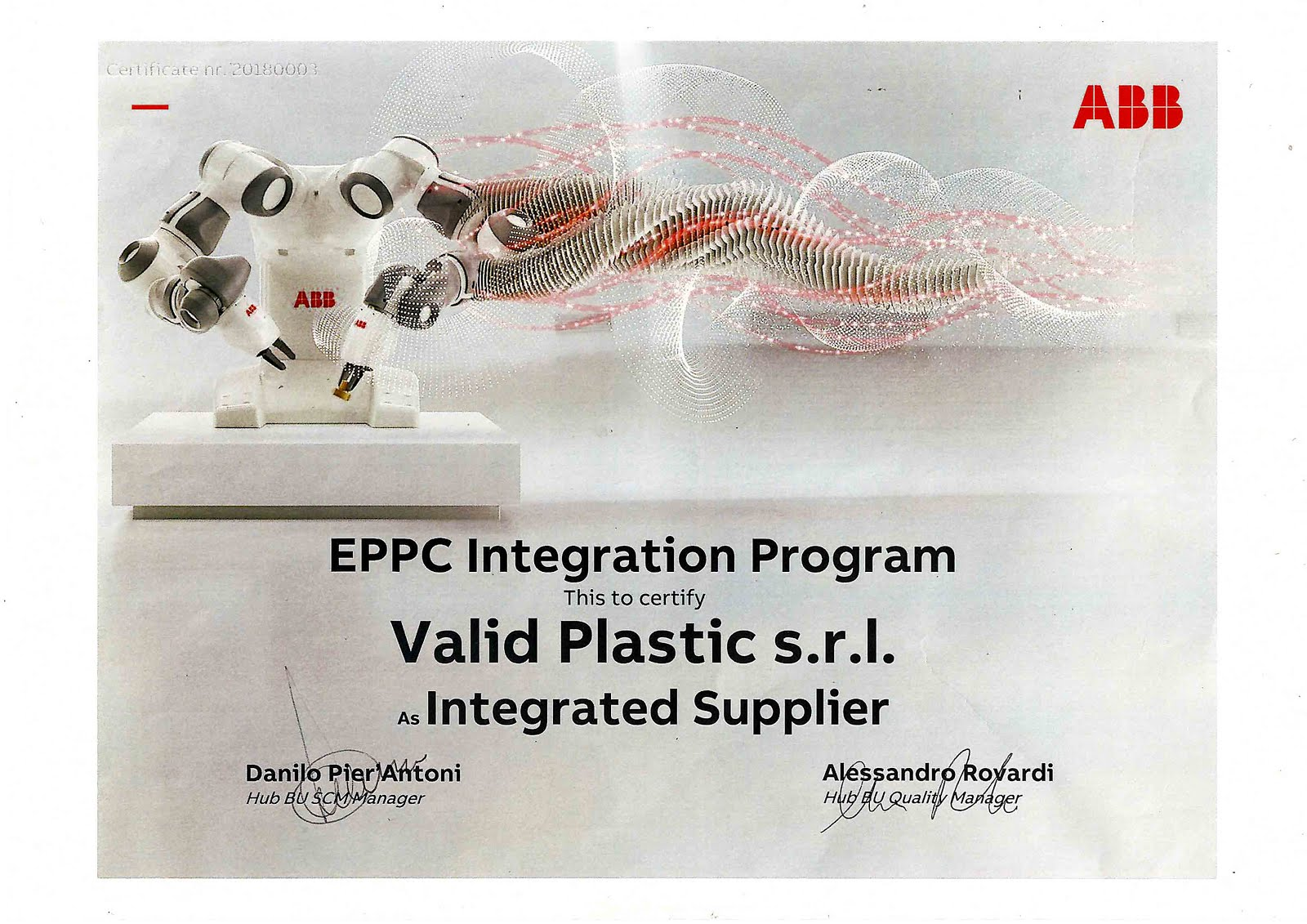 INTEGRATED PLASTICS SUPPLIER CERTIFICATE