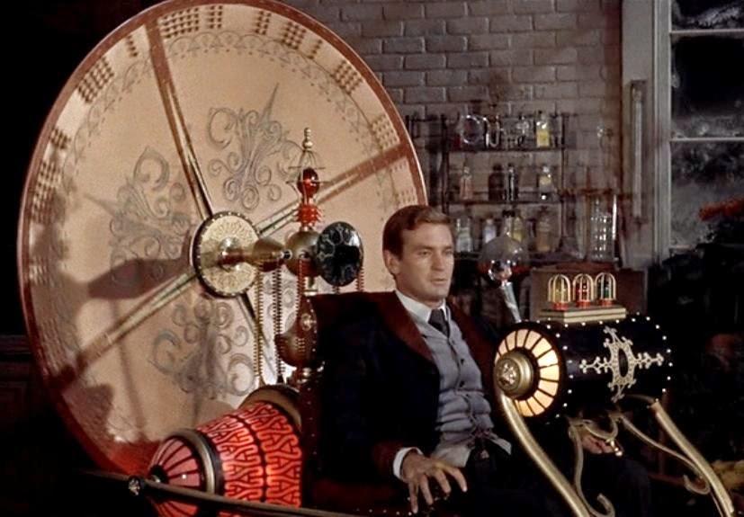 Ilustrasi gambar menaiki mesin waktu