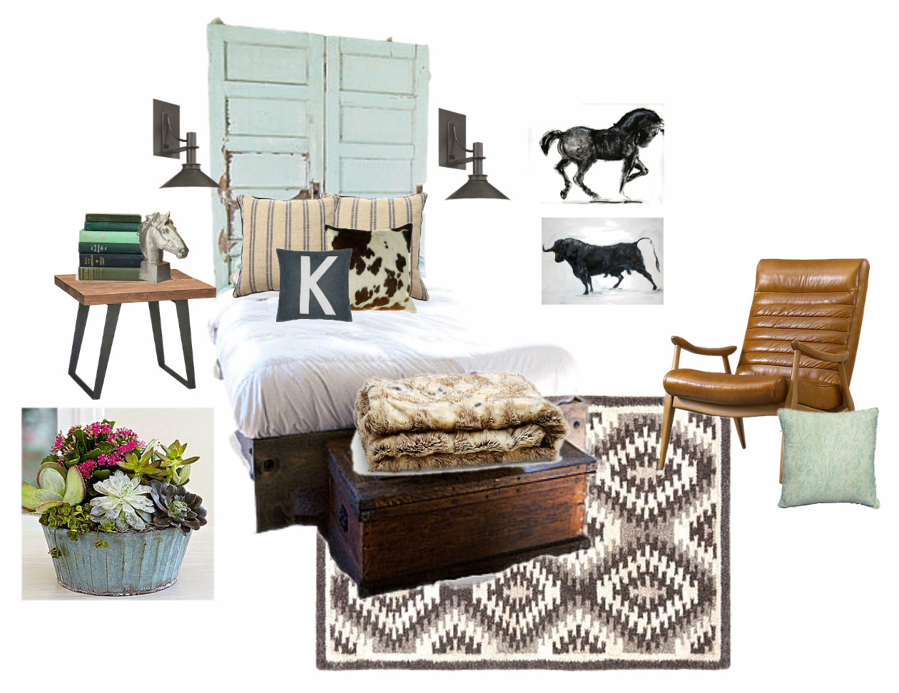 Master Bedroom Design board : Salvaged pieces, vintage, tribal, western, and rustic.