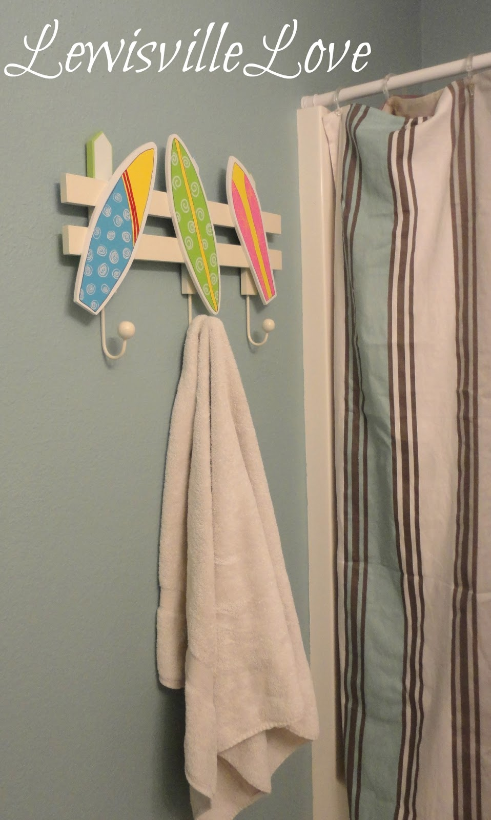 Surfboard bathroom decor -  Lewisville Love Changing Store Bought Stuff To Fit Your Style