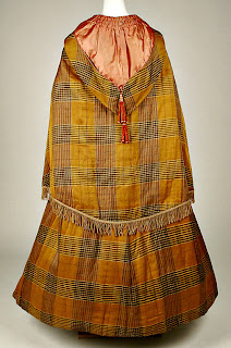 plaid pattern hooded cloak with capelet-back view