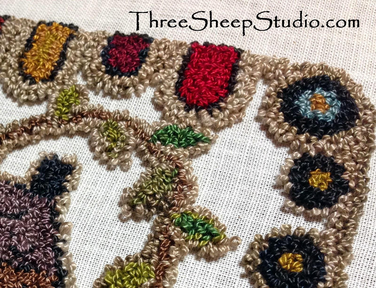 Punchneedle design using Valdani variegated Perle Cotton Thread - ThreeSheepStudio.com