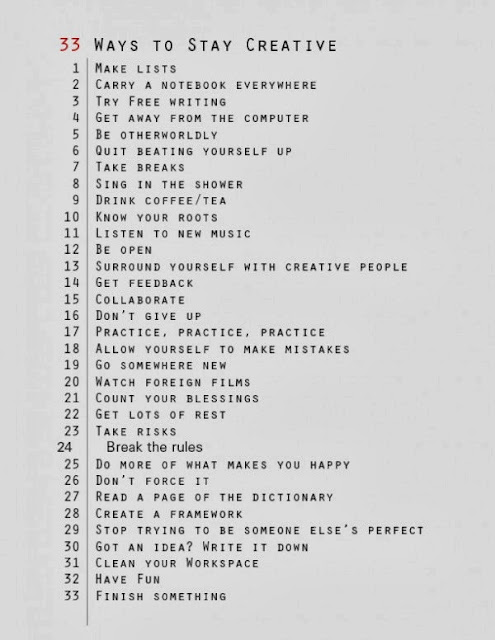 33 ways to stay creative list