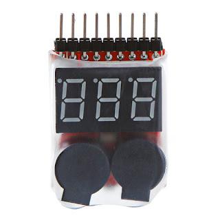 Lipo Battery Voltage Tester 1S-8S link + Low Voltage Buzzer Alarm