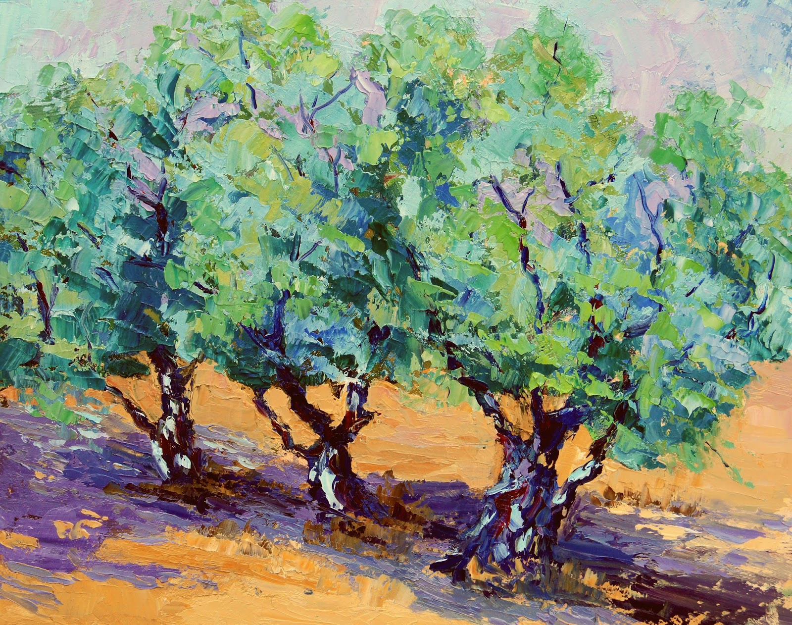Palette Knife Painters, International: Olive Tree Trio by Marion ...
