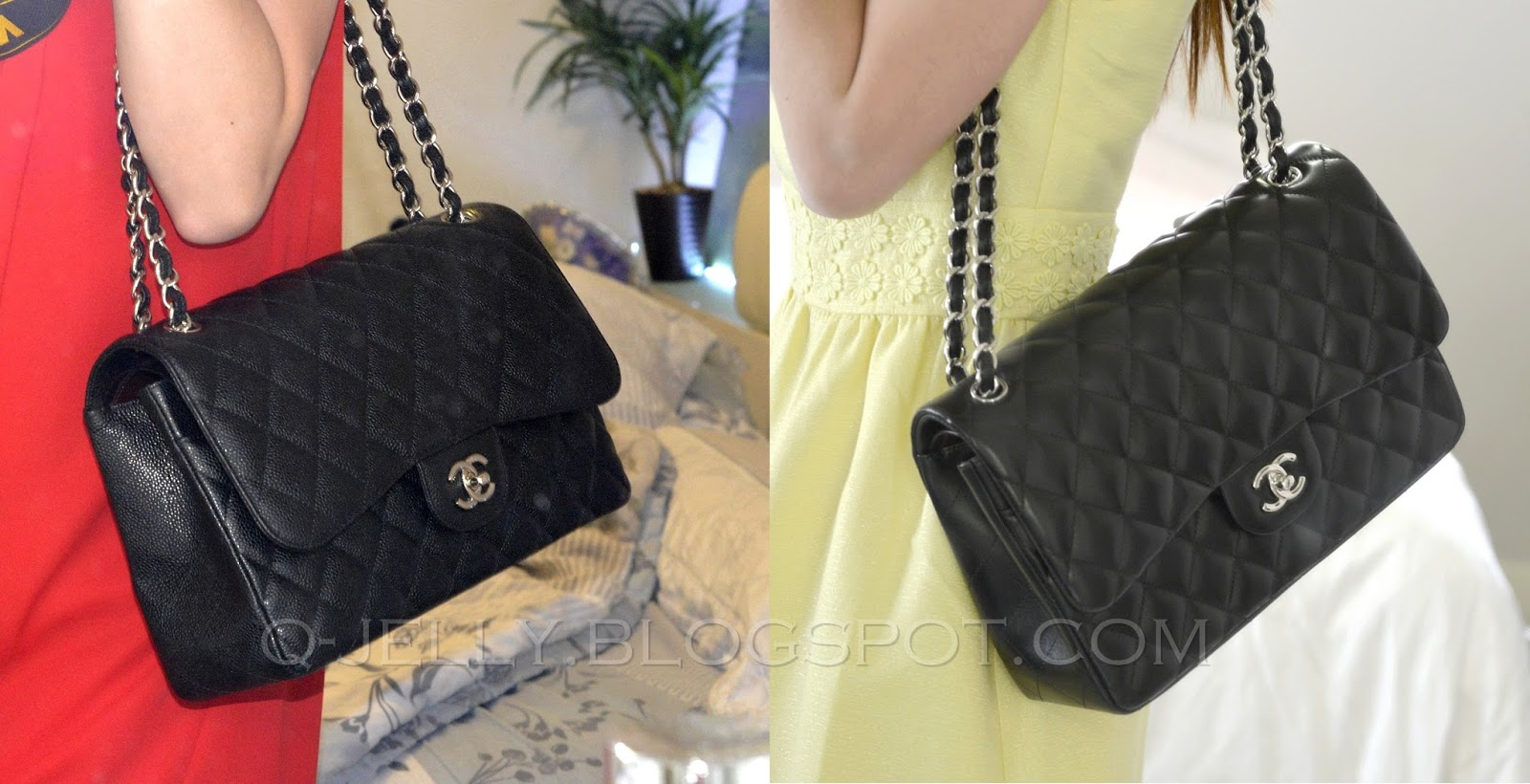 Chanel Classic Flap Bag Jumbo Lambskin Vs Caviar Comparison