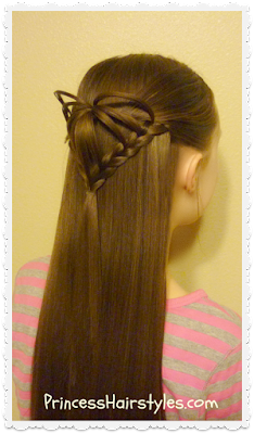 half up 3d heart hairstyle