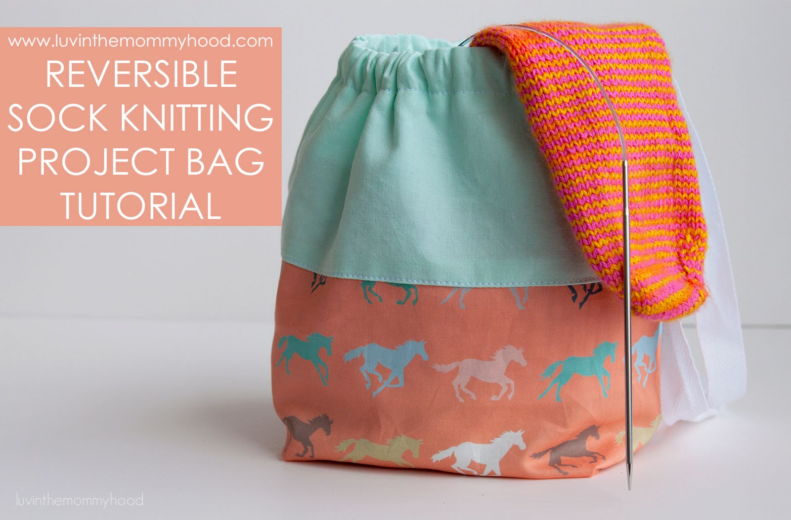 FREE TUTORIAL REVERSIBLE SOCK KNITTING PROJECT BAG   VERY SHANNON