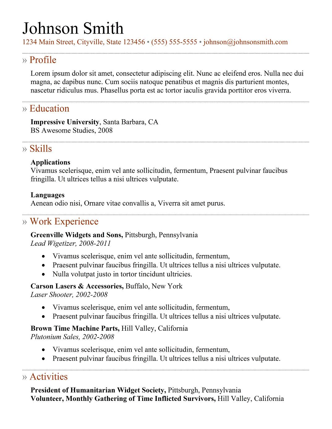 resume example for freshers