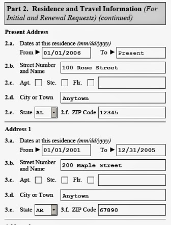 Image of residence and travel information section of uscis i821d form for dreamers to apply for daca renewal