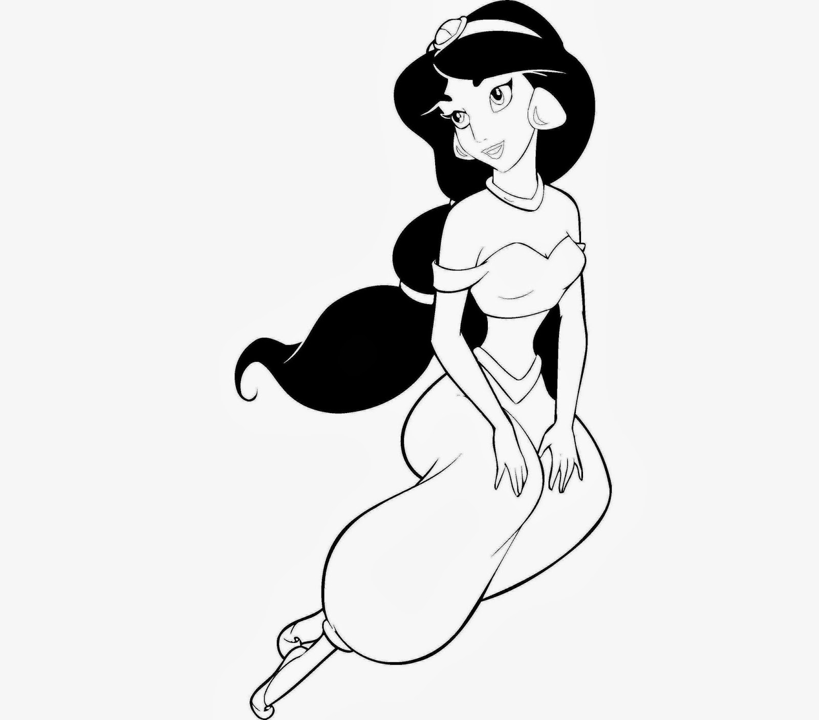 Princess jasmine colouring pages to print - Disney Jasmine Princess Coloring Drawing Free Wallpaper