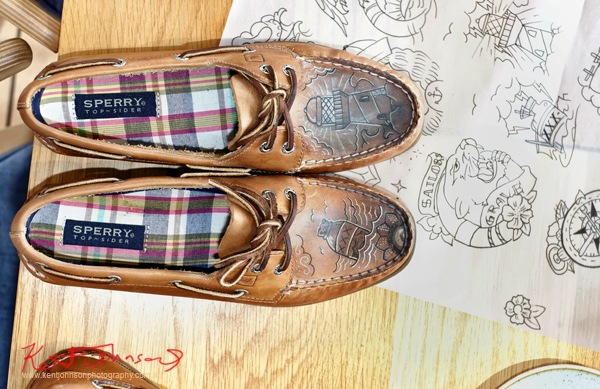Tattooed Sperry Top-Sider boat shoes. Sperry Odyssey Australia launch @ Regatta with Swimming Australia.