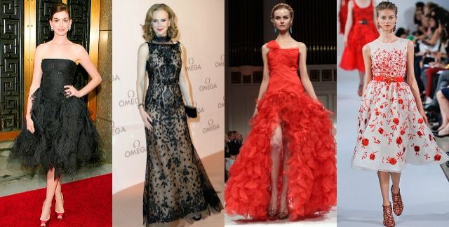 best, oscar de la renta, gowns, red carpet, anne hathaway, black strapless dress, nicole kidman, lace embellished dress, red strapless full skirt feathered,