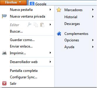 Menu configuracion Mozilla Firefox