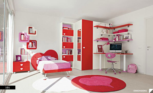 Red Theme Fitted Bedroom