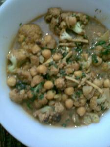 chickpeas and cauliflowers in a hot gravy..