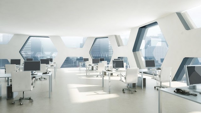 Picture of the office interior in the skyscraper building of the plaza