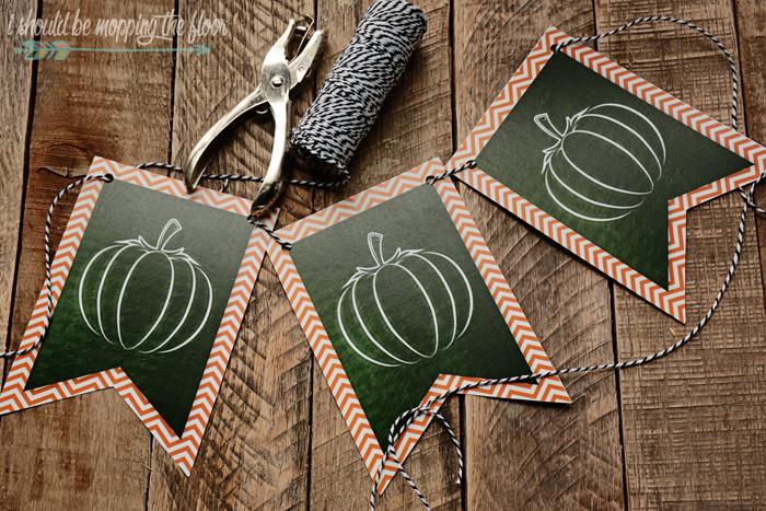 Free Printable Chalkboard Pumpkin Banner