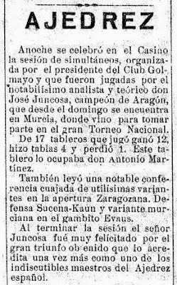 Noticia sobre el I Torneo Nacional de Ajedrez de Murcia 1927 en El Liberal, 13 abril 1927