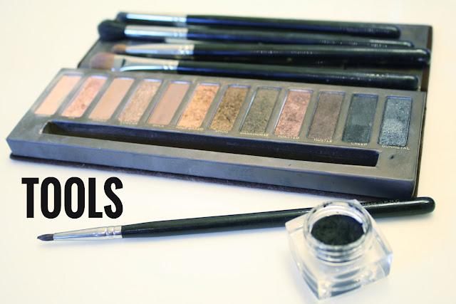 naked palette, gel liner, sigma brushes