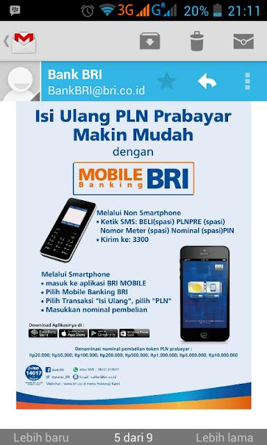 Cara Beli Token Listrik Pra Bayar Melalui SMS Banking BRI