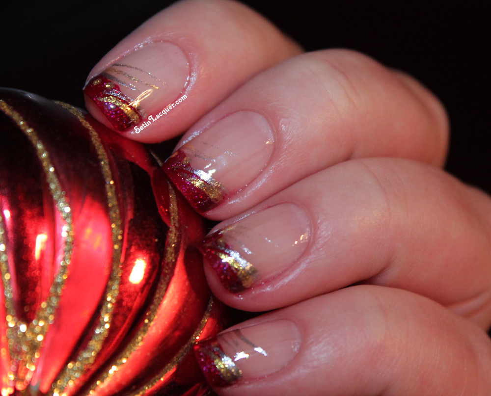 Festive French Tip Nail Art