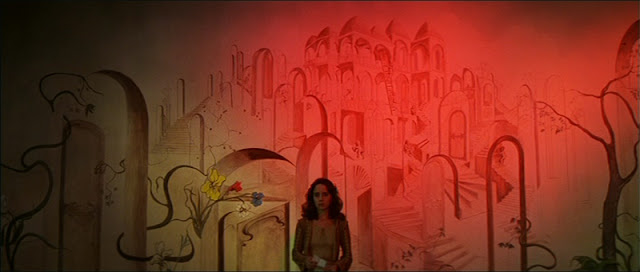 The beautifully painted flower room in Suspiria