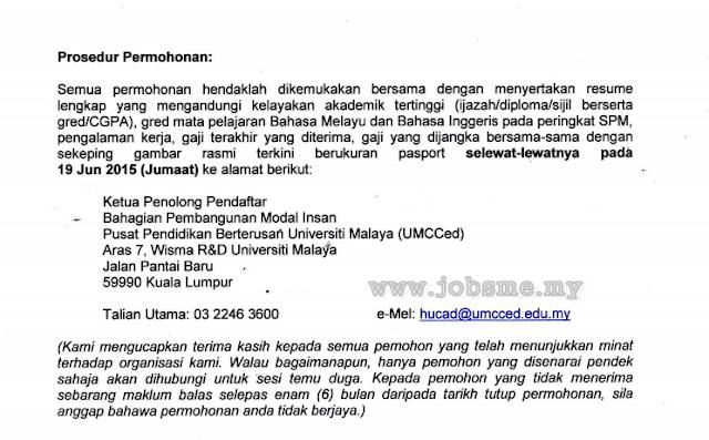 Jawatan Kosong Pusat Pendidikan Berterusan Universiti Malaya (UMCCED)