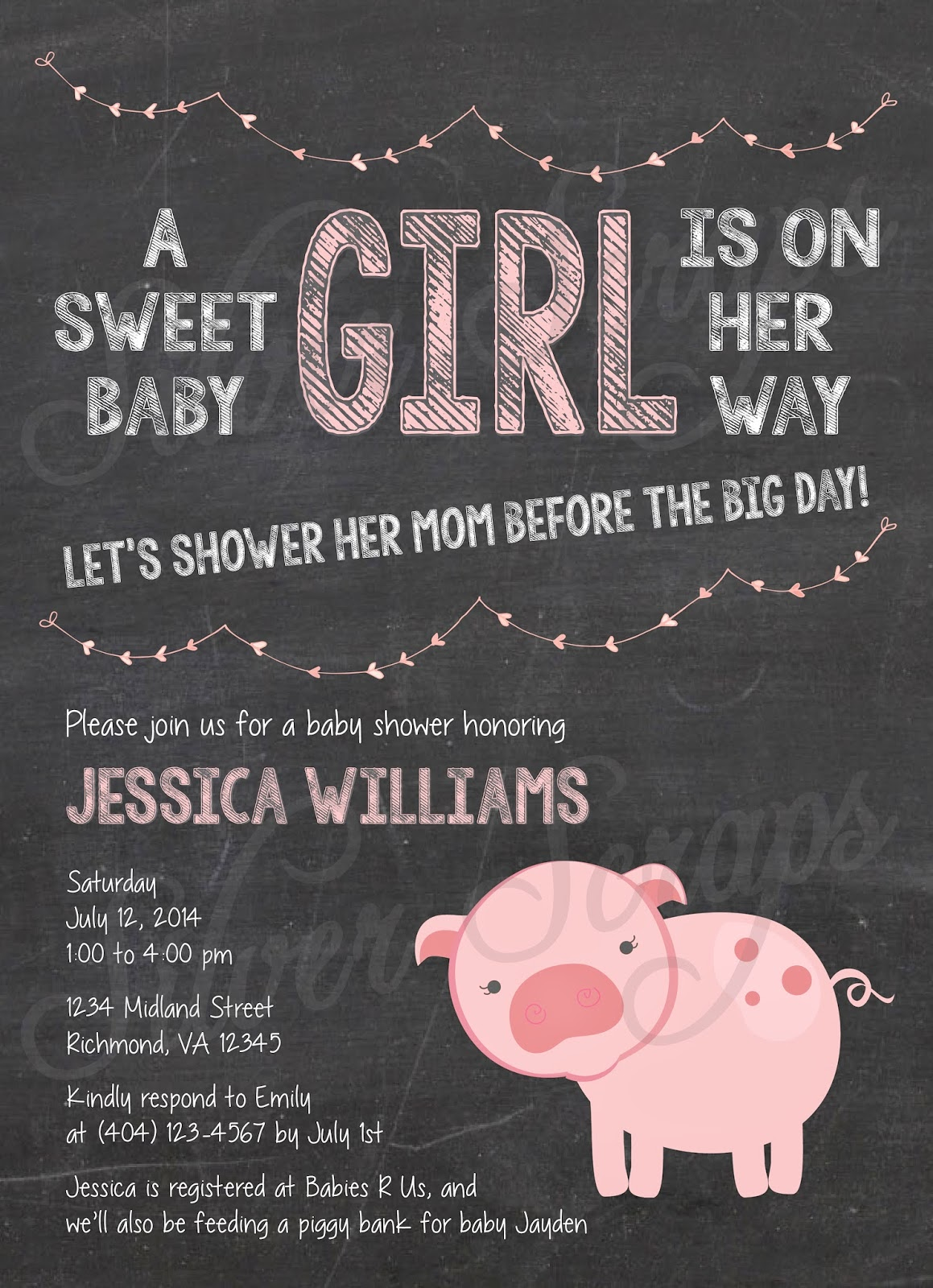 Chalkboard, Bunting and Pink Piggy Custom Girl Baby Shower Invitation - Pig Farm Garland Banner Flags Chalk Black White - 5 Printable Designs - Silver Scraps Peach Light Pink Blush Cream String of Hearts