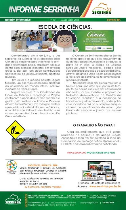 INFORMATIVO PREFEITURA DE SERRINHA